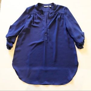 Halogen Cobalt Blue Sheer Blouse